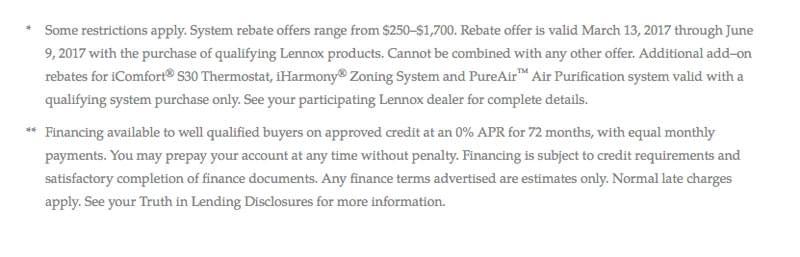 Lennox Sring Promotion Disclosures 2017
